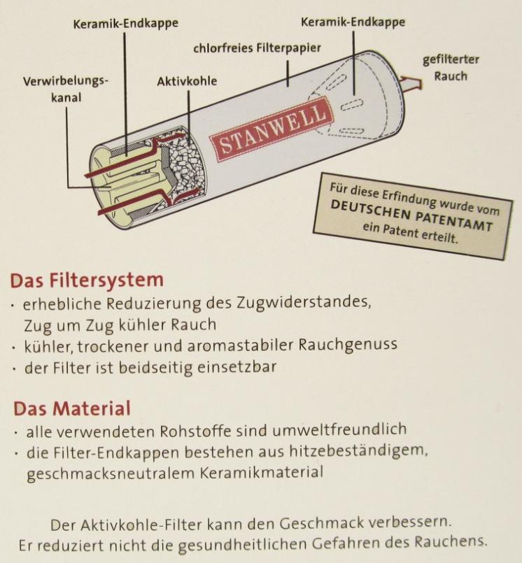 Pfeifenfilter Stanwell Aktivkohle 9 mm 1 Schachtel à 200 Filter